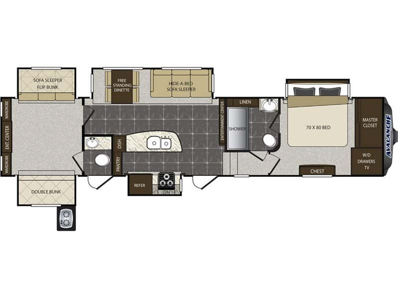 5 SLIDE REAR BUNK MODEL WITH 1 1/2 BATHS, KING BED SLIDE AND OUTDOOR KITCHEN !