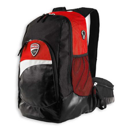 Heading out to the races? This lightweight nylon backpack is perfect for carrying your personal items. It has multiple pockets and comfortable padded shoulder straps for all day comfort. Dimensions: 44 x 30 x 18 cm. Genuine carbon fiber Ducati Corse logo.