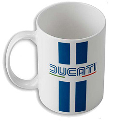 The Ducati 80's coffee mug is perfect for showing off some Ducati history with your morning cup of coffee. Ceramic. Dishwasher safe.