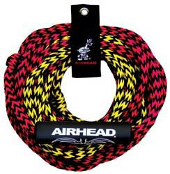 This tube tow rope has two sections, giving you the option to tow the tube either 50 or 60 feet behind the boat depending on wake and water conditions. The pre-stretched UV-resistant 7/16-inch diameter 16-strand rope exceeds the 2,375 pound break strength