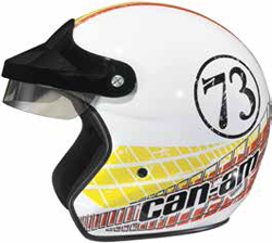 Lightweight fiberglass shell designSport visor peak with sunshieldSoft and comfortable head linerand cheek pad fabricRetro, modern open face stylingPadded chin strap with D-ring closureCan-Am brandedD.O.T. approved