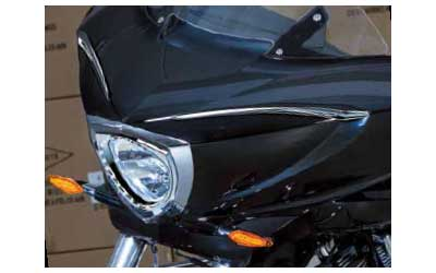 Break away from the pack and add an elegant, modern look to your fairing. Installation is simple, just peel-&-stick. Made of high quality, lightweight chrome plated ABS.Patent PendingFits: All Cross Country & Cross Country Tour Models