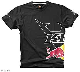 T-shirt with large KINI Red Bull print on the side and Wings for Life on the sleeve, woven neckband, high-quality single jersey fabric. 100% cotton.