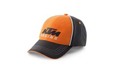 Team hat in orange and black with contract white piping and under bill. Snap back closure.