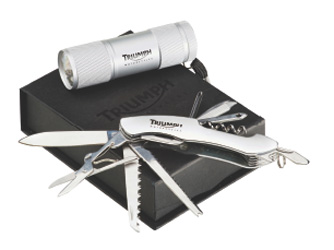 Silver LED travel torch        Batteries included        Silver travel multitool        Packaged in black gift box
