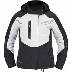 Center front quadruple flaps with 2 offset zippers that make front opening 100% waterproof and windproof.Removable and adjustable synthetic down collar to seal air entry.Removable hood.All seams sealed.Shaped sleeves.Powder skirt.Underarm venti