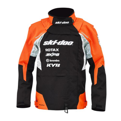 Co-designed with professional racers. Highlywindproof, waterproof and breathable membrane.Removable collar with neoprene replacement panel to accommodate neck brace.Race-approved blaze orange.Seams and logos sealed.Mesh inner lining.Water-resistant zipper