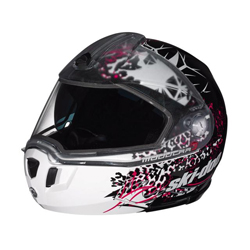 New enhanced shell design with trendy sharp edges.Clear Vision Technology with optically-correct dual lens visor.Adjustable sunshield lowers or raises at the touch of a button.Front push-button release integrated into jaw section facilitates manipulation w
