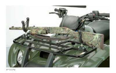 Rubber coated gun rack attaches to handlebars as well as rails (tubular or square)or metal racks. Using the master block mount and the pack-rack plus fork, makesthis rack extremely versatile. Includes rubber snubbers for added security in roughterrai