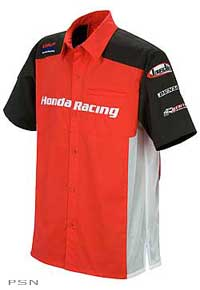 Cotton poly blendShort sleeve button up with turn down collarOfficial licensed Honda productRed/Black