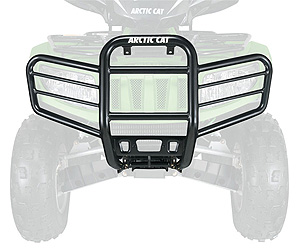 Protects grill, rack and lights from brush and debrisContoured to fit the front of your Arctic Cat ATVDurable protection with rust-inhibiting, powder-coated steelWithstands abuse with a burly, heavy-duty 1-1/2 in. center-tube section.