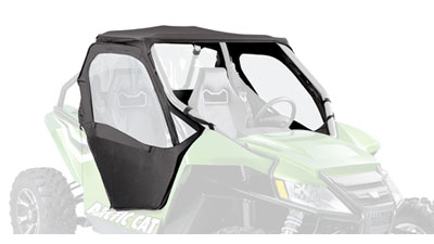 9-oz. heavy series 70 Surlast fabricIncludes roof,back panel and doorsRoof slides into WindLockchannel that is mounted directly to the windshieldforming a complete seal (windshield required)Choose your windshield: Full (1436-734), Flip-up(1436-73