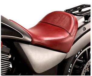 This genuine leather red solo seat gives the bike a distinct custom look and provides the rider with acomfortable, in-control seating position. Also available in durable white vinyl.
