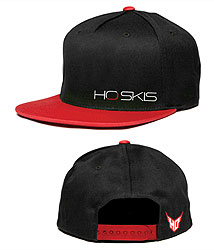 Hat Fabric Material: 100% cottonEmbroidered HO Skis logos on front and rear hat panelsAdjustable red snapback closerColor: Red & Black