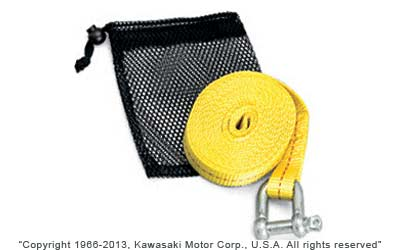 This bright yellow ATV tow strap is essential for all ATV riders12 ft. long with a working load rate of 4,000 lb.8 loop on one end acts as a soft tie for hooking up to one ATV Other end has a heavy-duty steel anchor shackle with screw pinStores in