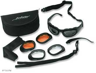 Come with three sets of shatterproof polycarbonate lenses that provide 100% protection from UVA, UVB and short blue light raysAnti-fog coating on smoke lensesLenses snap in and out easilyComfort-fit foam paddingAdjustable strapsProtective storage case and
