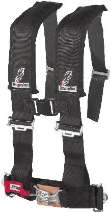 H-Style 3 harnessExtended sewn-in shoulder pads with sternum clip3 features sewn shoulder and lap belts for easy in/outFully adjustable to suit all ridersEasy adjustment pull down tabsPadded 4-point design with optional 5th mounting point