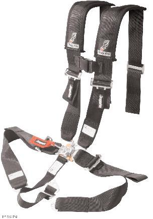 H-Style 3 harnessExtended sewn-in shoulder pads with sternum clip3 features sewn shoulder and lap belts for easy in/outEasy adjustment pull down tabsPadded 4-point design with optional 5th mounting point