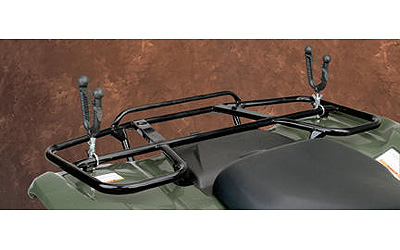 Soft rubber fins and extra rubber in the bottom to hold your gear securelyUse alternating long and short rubber fins to cushion objects being carried, but dont bind up so items are easier to removeAluminum blocks attach to ATV cargo rack railsRubber