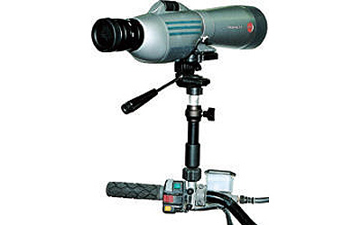 Features all the vertical and horizontal adjustment options of a standard tripod.Aluminum mounting block attaches to any cargo rack rail or handlebar up to 1 in diameterCan be used with spotting scopes, cameras, 8mm and VHS-C camcorders.