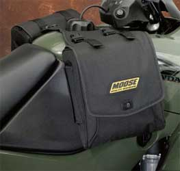Unique pony express style throw-over bag system for your ATV fuel tankQuality cargo bags with riveted straps and carrying handles adds true functionality to your ATVNon-slip yoke installs quickly with hook-and-loop fasteners under your ATVs gas cap (als