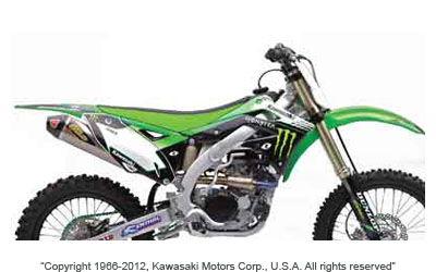 2011 Monster Energy Kawasaki Supercross/Motocross official team replica graphics kit includes; Decals for shrouds, airbox, rear fender, front fender, swingarm, fork and number plates. Technogrip seat cover included.For 2012 KX450F.