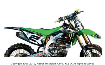 2011 Monster Energy Kawasaki Supercross/Motocross official team replica graphics kit includes: Decals for shrouds, airbox, rear fender, front tender, swingarm, fork and number plates. Technogrip seat cover included.