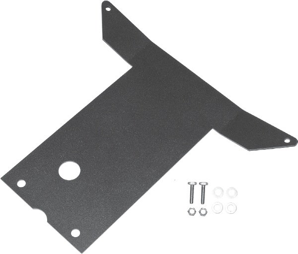 This skid plate covers the area between the slp Front Bumper and the stock center plastic skid plate, which is the section of frame where the arms mount. It is made from high-tensile strength steel to protect against rocks and other hard objects without lo