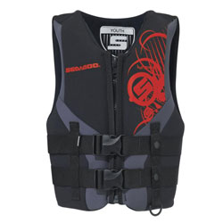 Ultra-durable neoprene outer shell and lining. Combination of PVC & polyethylene foam inserts. 2 woven straps with quick release buckles. Strategically-placed mesh drain panels. Armholes cut large for comfort. Heavy-duty front zipper. Split tail comfort de