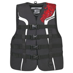Super-duty nylon outer shell  Combination of PVC and polyethylene foam inserts 4 woven straps with quick releasebuckles (3 buckles on Canadian Ladies PFD)   Reinforced seams with vinyl piping. Armholes cut large for riding comfort  D-ring for lanyard