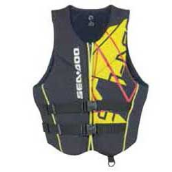 Ultra-durable neoprene outer shell and lining  Soft, beveled PVC foam inserts  2 woven straps with quick release buckles  Strategically-placed mesh drain panels  Armholes cut large for riding comfort  Heavy-duty front zipper  Split tail comfort design