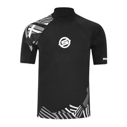 Offers SPF 50 UV protection. Mock turtleneck collar design with boardshort connector. 6 oz. (170 g) Nylon/Spandex.