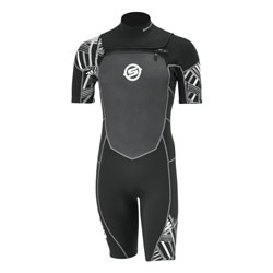 Short wetsuit made of 2 mm neoprene and 4-way stretch fabric underarm, sleeves, lumbar, crotch and collar for more flexibility. Features a waterproof pouch on right leg. Mock turtleneck collar design with horizontal opening zipper. Rubberized front panelfo