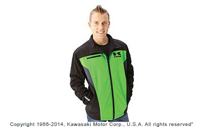 Water-resistant 100% bonded polyester micro fleeceMesh liningAdjustable cuffsEmbroidered logos on chest, sleeve and back