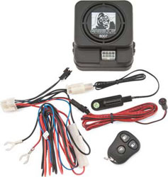 Stops Theft 4 Different Ways:Motion Tilt Sensor: Activates the alarm when motorcycle is moved off its side standCurrent Drain Sensor: Stops hot wiring by activating the alarm when there is a current drop in the motorcycles electrical systemShock Sensor: A