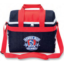 Denim and nylonconstruction Front panel contains RonnieMac logo embroideryand side panels featurescreenprint logo details Features two carry handleswith a hook-and-loopclosure flap Also includes a 29/47 adjustable carry strap and zippe