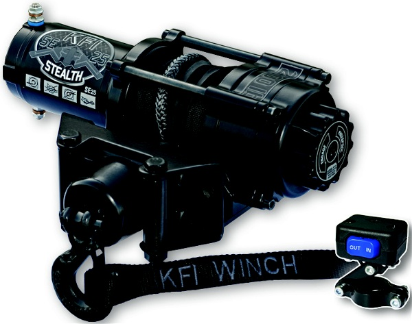 This 2500lb ATV Stealth Series winch features synthetic cable, cable hook stopper, a dynamic and mechanical braking system, water resistant seals to keep the elements out, a standard 4-hole mounting design and a heavy duty all metal turn clutch.Rated line