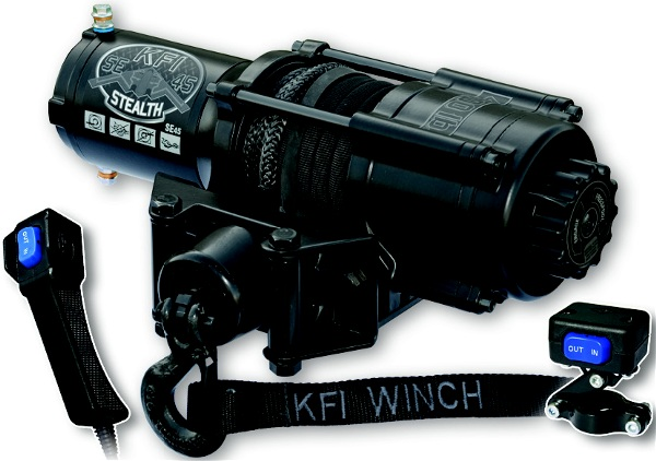 This 4500lb UTV Stealth Series winch features synthetic cable, cable hook stopper, a dynamic, mechanical and drum braking system, water resistant seals to keep the elements out, a standard 4-hole mounting design and a heavy duty all metal turn clutch.Rated