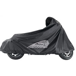Protect your Indian Chieftain with this durable, waterproof cover that is custom-fit for your cruiser Motorcycle. This cover fits easily over your Indian Motorcycle and provides complete coverage from the top of the windshield to the bottom of the whee