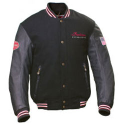 The epitome of timeless styling, this Varsity Jacket combines a wool body with leather sleeves and Indian branding.Shell: 90% Melton wool/10% nylon body; 100% leather sleevesPockets: 2 exterior and 1 interior pocketLining: Fixed quilted liningIndian logos