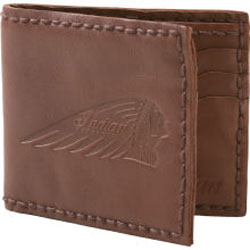 This handsome, versatile all-leather wallet has an embossed Indian logo, multiple interior compartments and stylish top stitching.