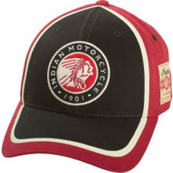 Three-color treatment gives this hat the class an Indian Motorcycle owner deserves.Embroidered Indian Motorcycle circle warbonnet on frontgraphic patch on the sideAdjustable back strap with metal clasp
