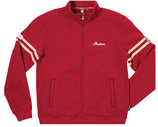 heavyweight shell with a high zip collar for neck protection on or off the bike. Sleeve stripes give this an athletic style. The back features the original name of the Indian Motorcycle Company.Color: RedFabric: 100% cotton; 380 gsm; fleece backGraphi