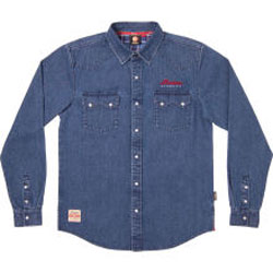 This heavy-duty denim shirt has westernstyle pockets and pearl buttons, and is made to last.Blue100% cotton heavy denimEmbroidered Indian Motorcycle logo on frontWarbonnet logo on back