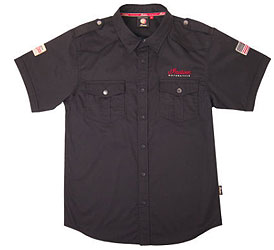 Basic black with lots of style points including metal buttons on pockets and epaulets.Color: BlackFabric: 65% polyester, 35% cottonGraphics: Embroidered Indian Motorcycle logo on front and back