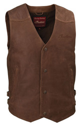 Only Indian Motorcycle could deliver this fresh take on a classic leather vest. This Indian Brown Leather Vest features a snap front, convenient pockets, adjustable side straps, and Indian Motorcycle branding.Shell: 100% leatherPockets: Two exterior po