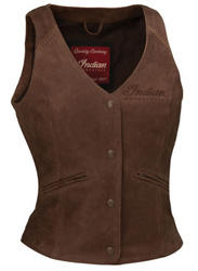 Classic leather vest style is complemented by an ultra-comfortable cut and fit and the powerful appeal of Indian Motorcycle branding. This well-constructed vest features a snap front and adjustable side straps, and theres Indian Motorcycle branding on t