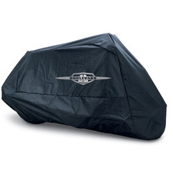 Heavyweight polyester cover sheds water, ventilates condensation and is heat resistant for use on warm motorcycle (it is recommended that rider let motorcycle cool down before use). Built-in soft liner to help protect windshields. Shock-corded hem with gro