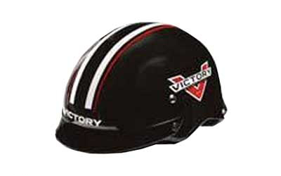 Be the first to display the new Victory logo on your headgear with this half-helmet. A two-color racing stripe provides added style to compliment the Victory logo on both sides of this comfortable; DOT approved helmet with visor.Shell: Polycarbonate/