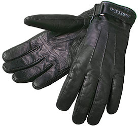 The name says it all. Black leather with protective Kevlar and ventilated finger panels make this glove a perfect fit. Shell: Leather with double-layer palm and hidden Kevlar Additional Features: Elasticated wrist with Velcro adjust; perforated inner